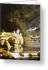 Fairies By A Rocky Stream Greeting Card
