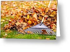 Fall Leaves With Rake Greeting Card