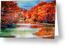 Fall On The Guadalupe Wc Greeting Card