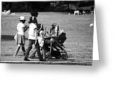 Family Walking In The Park Greeting Card