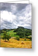 famous Bismantova rock in the north of Italy Greeting Card