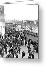 Fans Leaving Yankee Stadium. Greeting Card