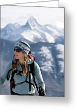 Female Backcountry Skier Skinning Greeting Card