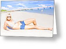 Female Vacationer Relaxing At Tropical Paradise Greeting Card