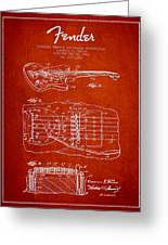 Fender Floating Tremolo Patent Drawing From 1961 - Red Greeting Card