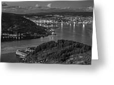 Ferrol's Estuary Panorama From La Bailadora Galicia Spain Greeting Card