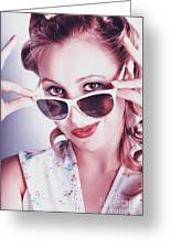 Fifties Glamor Girl Wearing Retro Pin-up Fashion Greeting Card