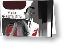 Film Noir David Janssen The Fugitive Santa Rita Hotel Front Xmas Tucson 1963 Color Added 2009 Greeting Card