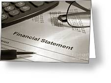 Financial Statement On My Desk Greeting Card
