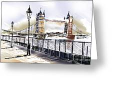 Fine Art Drawing The Tower Bridge In London Uk Greeting Card