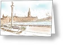 Fine Art Landscape Sketch Of Stockholm Sweden  Greeting Card