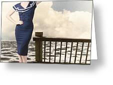 Fine Art Vintage Pin-up. Vacation Departure Dock Greeting Card