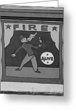 Fire Eater In Black And White Greeting Card
