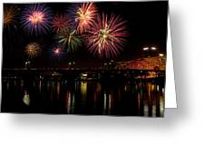 Fireworks Over The Broadway Bridge Greeting Card by Robert Camp