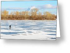 Fisherman On The Frozen River Greeting Card