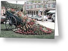 Flower Cart In Sisteron France Greeting Card