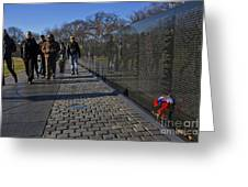 Flowers Left At The Vietnam War Memorial Greeting Card