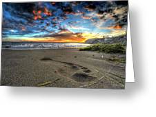 Foot Print In The Sand Greeting Card