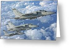 Formation Of Italian Air Force Amx-acol Greeting Card