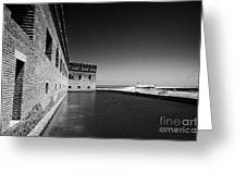 Fort Jefferson Brick Walls With Moat Dry Tortugas National Park Florida Keys Usa Greeting Card