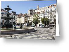 Fountain In The Pedro Iv Square Also Best Known As Rossio Square Greeting Card