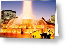 Fountain Lit Up At Dusk, Buckingham Greeting Card
