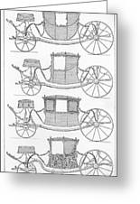 France Carriages, C1740 Greeting Card