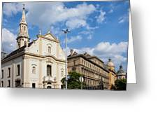 Franciscan Church Of Pest In Budapest Greeting Card