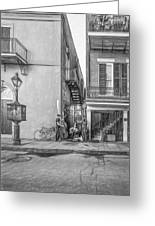 French Quarter Trio - Paint Bw Greeting Card