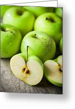 Fresh Healthy Green Apples On Wooden Background Greeting Card