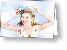Friendly Female Pin-up Wearing Hair Accessories  Greeting Card