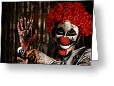 Frightening Clown Doctor Holding Amputated Hand  Greeting Card