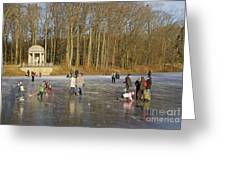 Frozen Lake Krefeld Germany. Greeting Card by David Davies