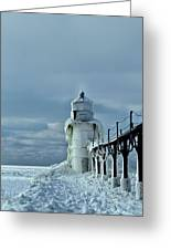 Frozen Lighthouse In Saint Joseph Greeting Card