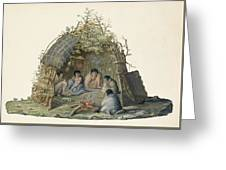 Fuegans In Their Hut, 18th Century Greeting Card