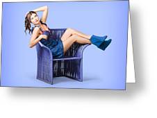 Full-length Portrait. Lovely Woman In Denim Dress Greeting Card