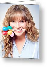 Fun Party Girl With Balloons In Mouth Greeting Card