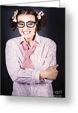 Funny Female Business Nerd With Big Geeky Smile Greeting Card