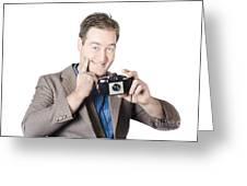 Funny Man Gesturing Big Smile With Vintage Camera Greeting Card