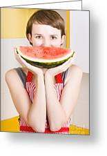 Funny Woman With Juicy Fruit Smile Greeting Card