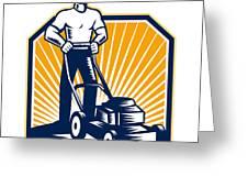 Gardener Mowing Lawn Mower Retro Greeting Card