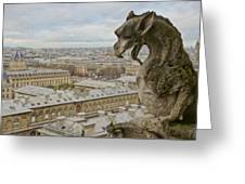 Gargoyle Overlooking Paris Greeting Card