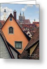 German Rooftops Impasto Greeting Card