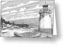 Lighthouse Gig Harbor Entrance Greeting Card