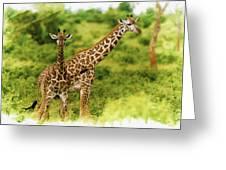 Mom Giraffe And Little Joey Greeting Card
