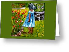 Girl In The Garden Greeting Card