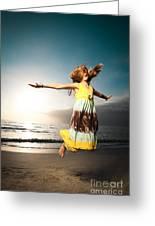 Girl Jumping And Dancing On Beautiful Beach. Greeting Card