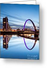 Glasgow River At Night Greeting Card