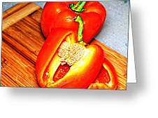 Glowing Peppers With Texture Greeting Card