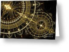 Golden Abstract Circle Fractal Greeting Card